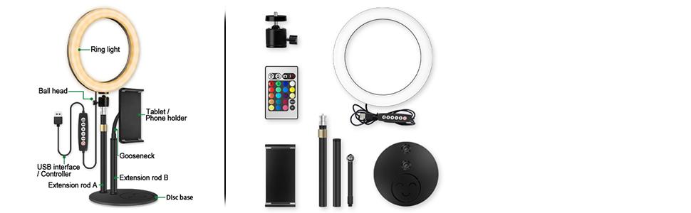 rgb desktop ring light kit