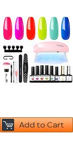 Gel nail polish kit with U V lamp 6w