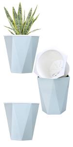 "3pcs 7.8"" diamond shape self watering plant pots planter"
