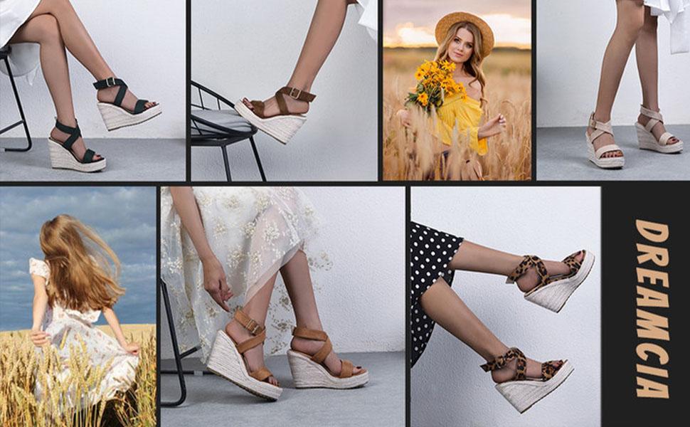 Women summer cross-band buckle espadrilles platform wedge sandals