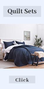 dark blue quilt set