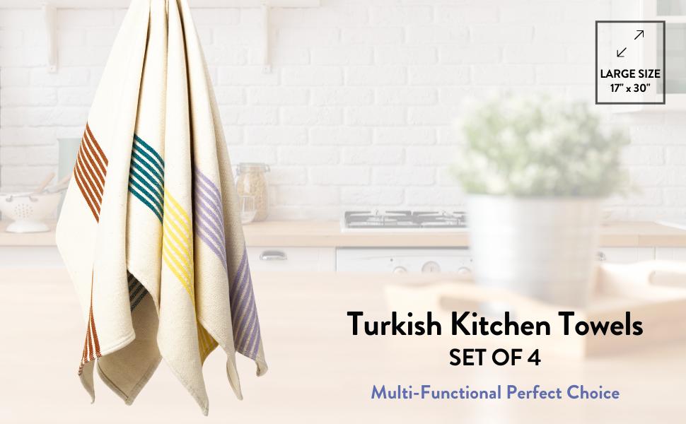 Turkish cotton kitchen towels set of 4