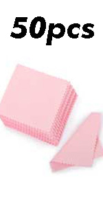 50pcs Jewelry Cleaning Cloth Pink Polishing Cloth for Sterling Silver 8x8cm