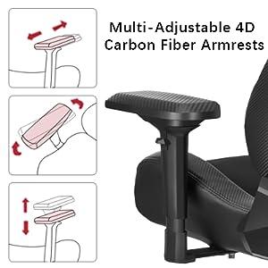 adjustable 4d armrest, left right armrest, carbon fiber armrest, ergonomic armrest