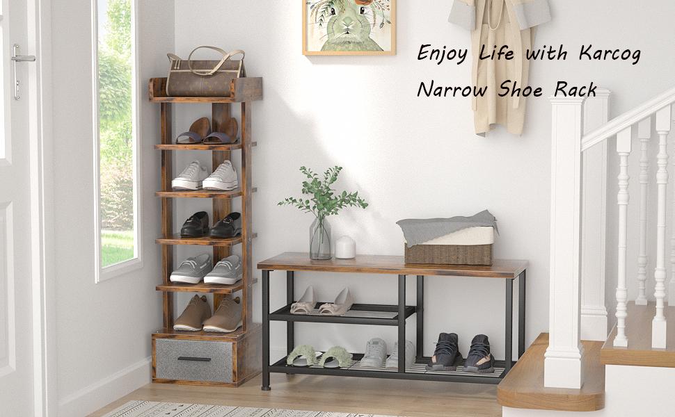 Enjoy happy life with Karcog narrow shoe rack