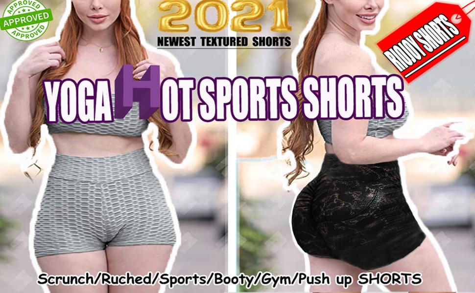 RIOJOY Women's Butt Lifting Yoga Shorts High Waist Tummy Control Ruched Textured Hot Pants