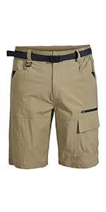 men belted outdoor hiking shorts