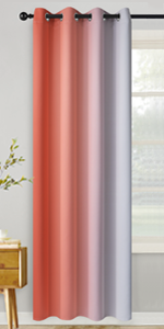 Grommet Greyish White and Coral Ombre Room Darkening Ombre Curtains