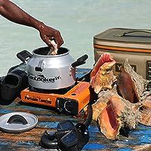 beach cooking, steamer, steam cooker, camp cooking, camping gear, camp cooking gear