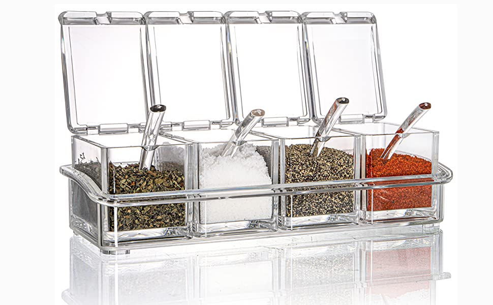 4 Compartment Condiment & Spice Box Serving Set with Spoons Section Seasoning Storage