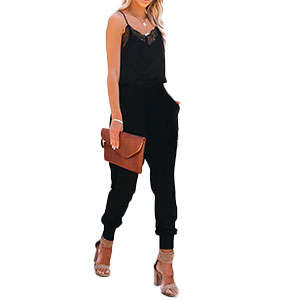 Women's Casual Solid Lace Tank Black Jumpsuits