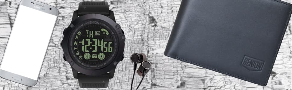 phone watch earphone and wallet