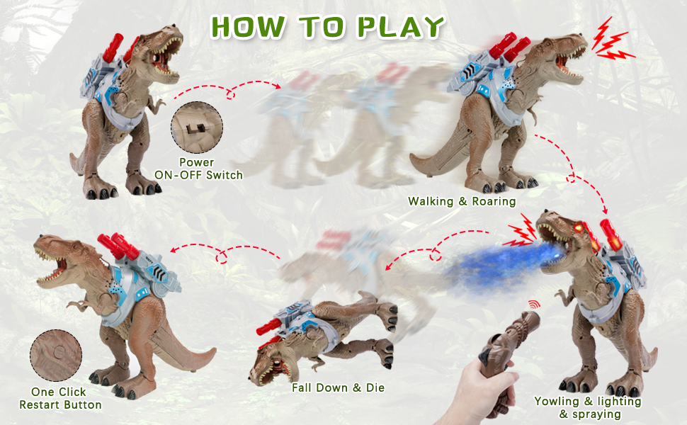 How to play dinosaur TREX toy with gun shooting