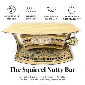 The Nutty Bar is handmade in the USA of sustainable wood that protects against the elements.