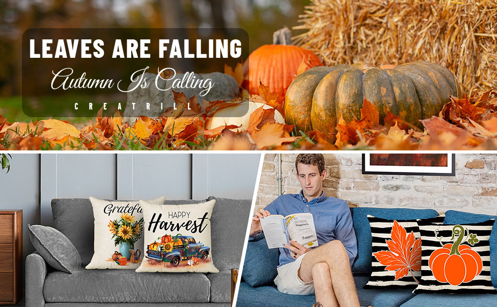 thanksgiving pillow covers 18x18 set of 4