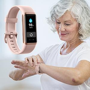 YAMAY Bracelet Connecté Oxymetre avec Alexa Montre Connectée Femme Homme Podometre Cardio Montre