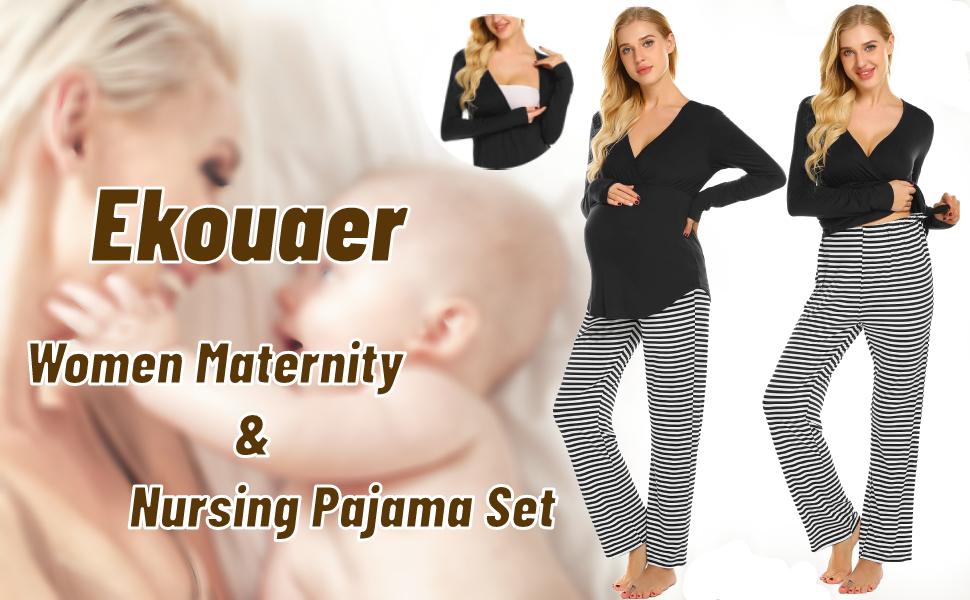Ekouaer Maternity Nursing Pajama Set