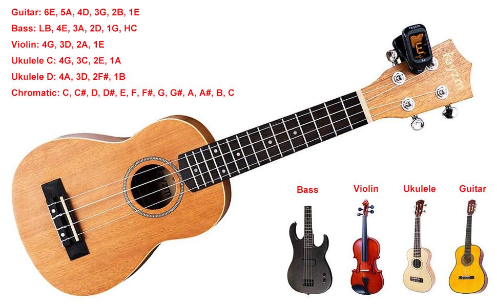 clip on tuner, electric tuner, guitar tuner, ukulele tuner, violin tuner