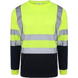 Hi Viz Vis Crew Neck Two Tone T Shirt Full Sleeve Safety Security Work Yellow Black