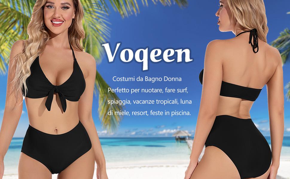 Costumi da Bagno Donna Vita Alta Imbottito Reggiseno Bikini Pettorale Due Pezzi Abiti da Spiaggia