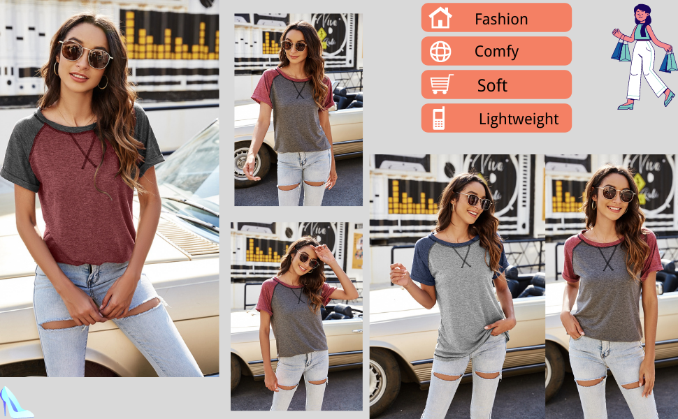 womens trendy short sleeve patchwork basic tshirt