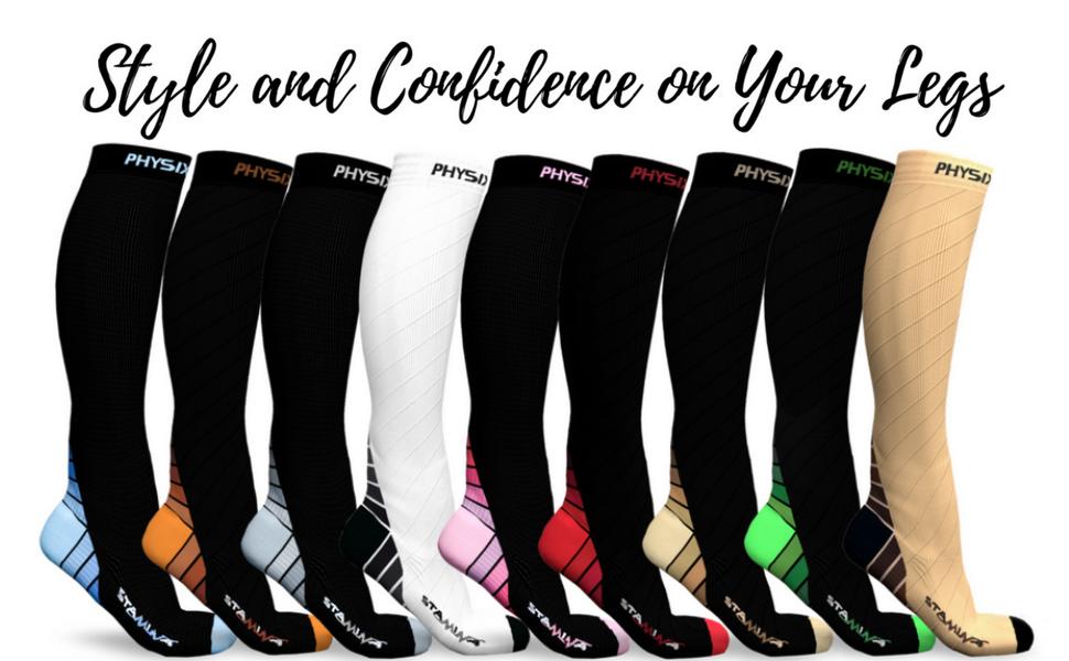 long compression socks various colors