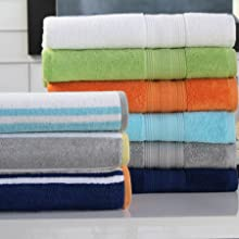 Collection of Orange, Grey, Blue, Green, White and Striped Freshee Bath Towels