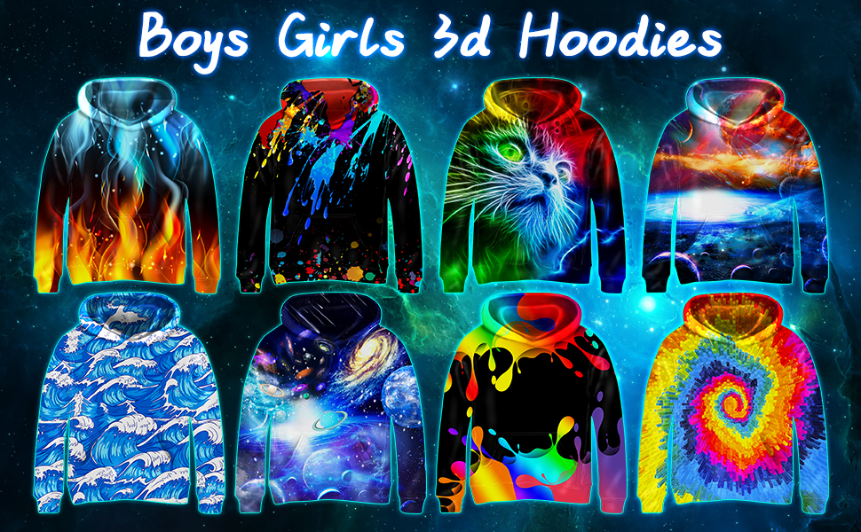 boys girls 3d hoodies for 6-16 year