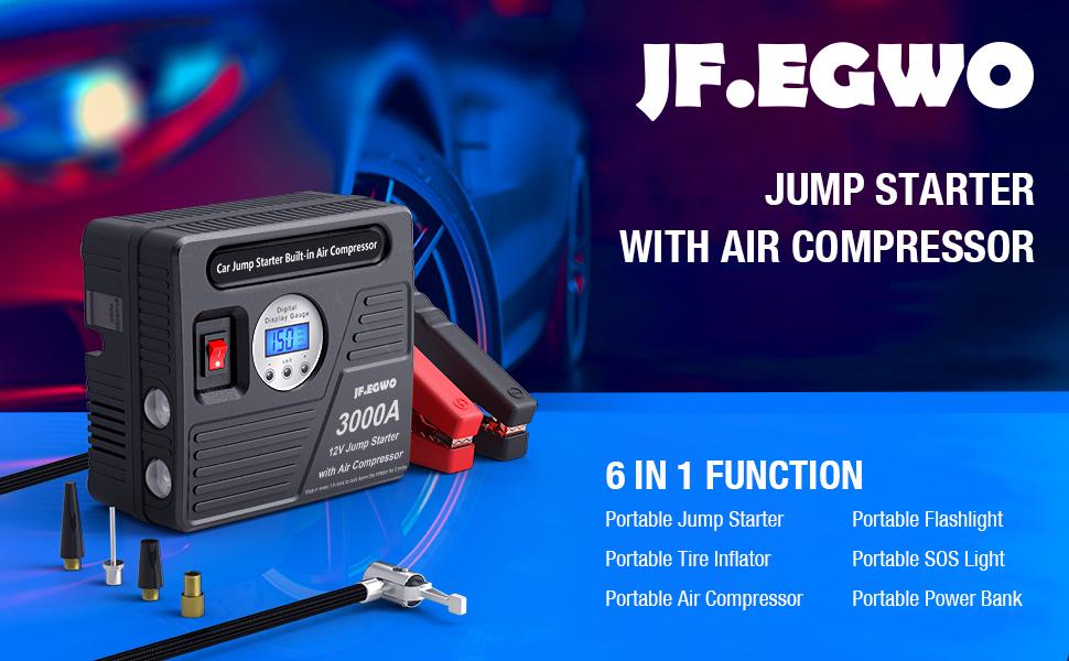 3000A jump starter with air compressor