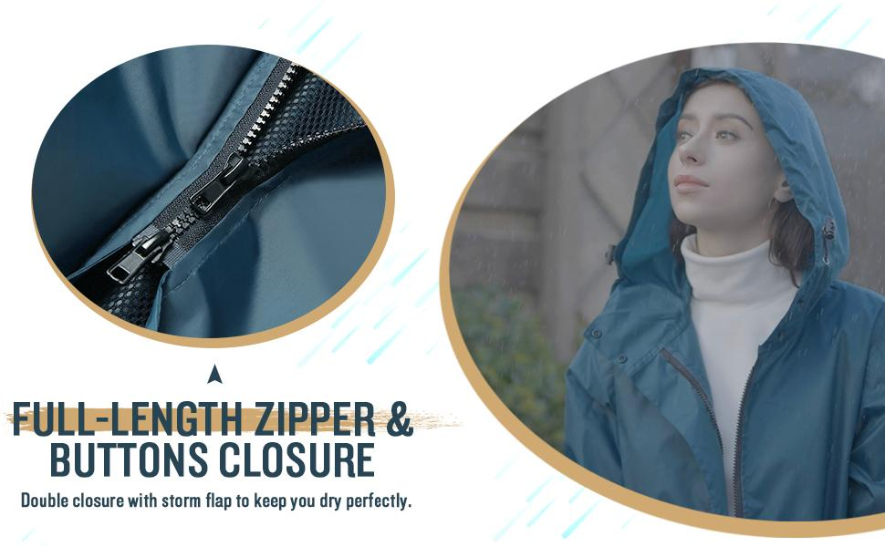 fashion long rain coat for women
