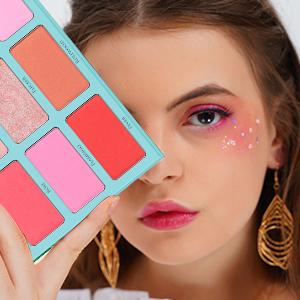 blush palette blush makeup,bronzer and highlighter palette face makeup pink rose