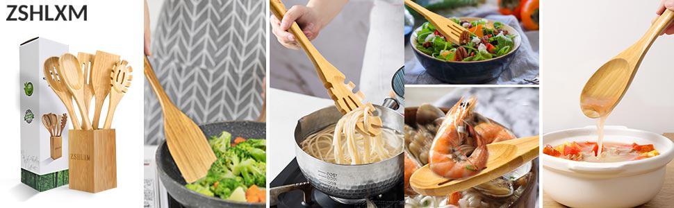 Bamboo Kitchen Utensils Set with Holder