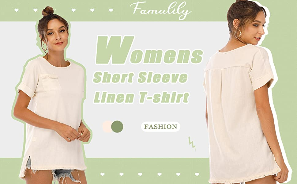 womens short sleeve linen tee