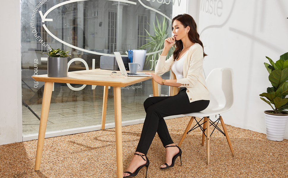 women wear womens black casual dress pants and working in office in front of computer