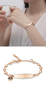 Rose gold heart medical id bracelets