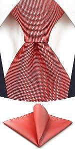 Cravatte rosse per uomo con fazzoletto da taschino