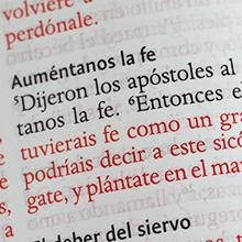 Palabras de Cristo en rojo