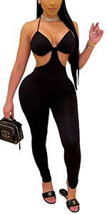 Halter Cut Out Bodycon Jumpsuits Clubwear