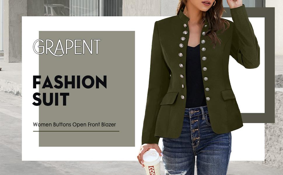Women Buttons Open Front Blazer BLCAAA