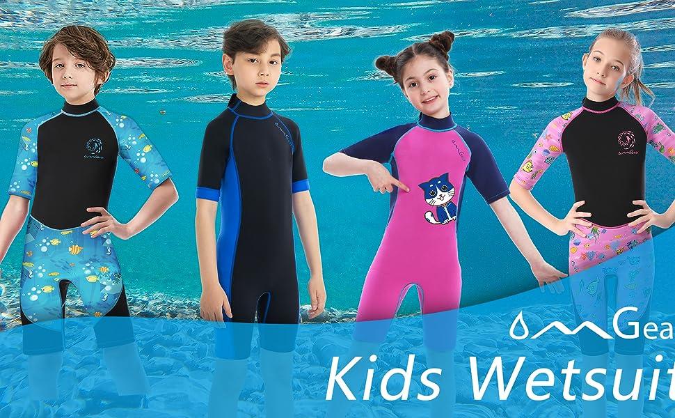 kids short sleeve diving wetsuit swimsuit