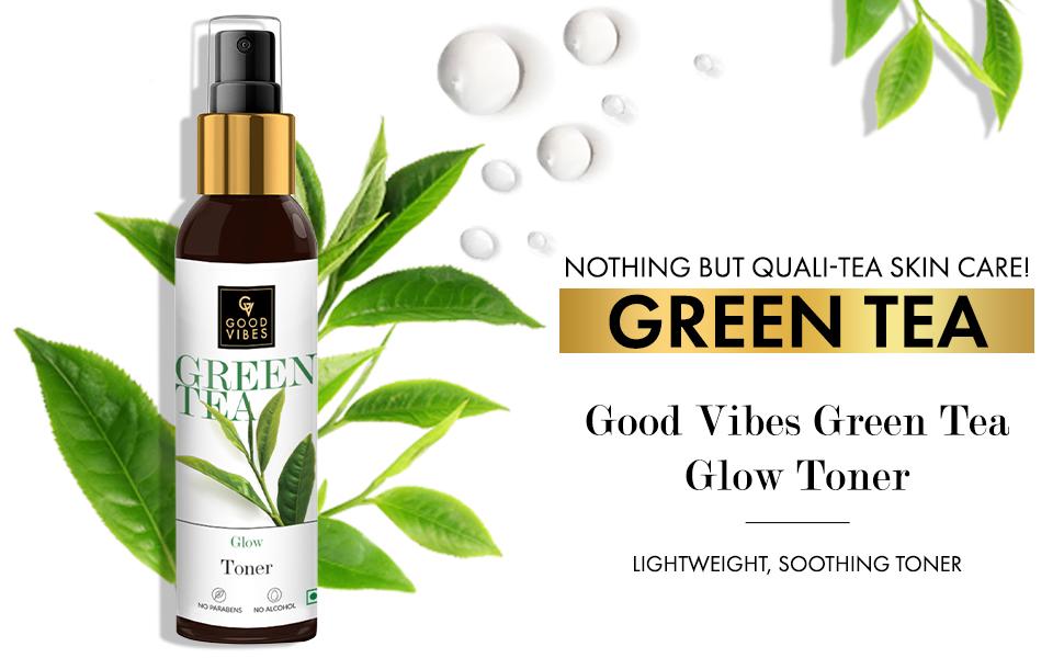 Green tea toner face skin mist hydrating women men glow brightening lightweight