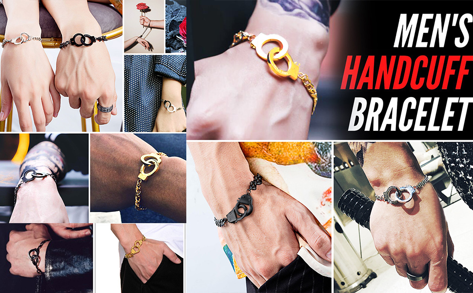 men handcuff link bracelet stainless steel