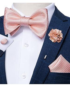 Formal solid blush pink bow tie set for men