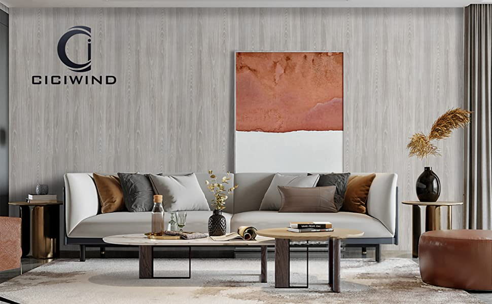 CiCiwind Grey Wood Contact Paper