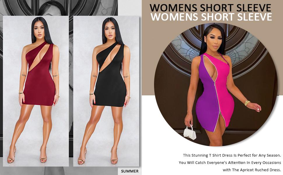ECHOINE Women's Sexy One Shoulder Sleeveless Cutout Bodycon Mini Club Dress