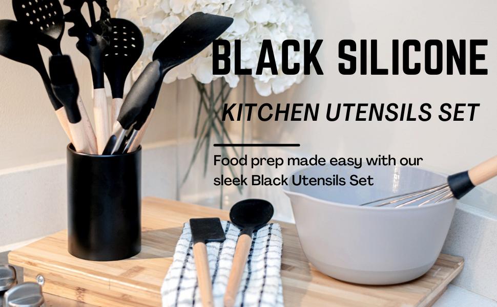 Black Silicone Kitchen Utensils Set