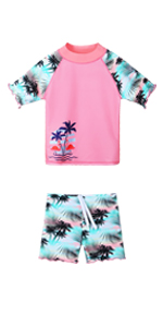Girls Short Sleeve Swimsuit Green Pink