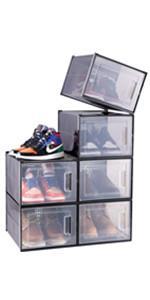 6 Pack Ultra Large Shoe Organizer Box, Black