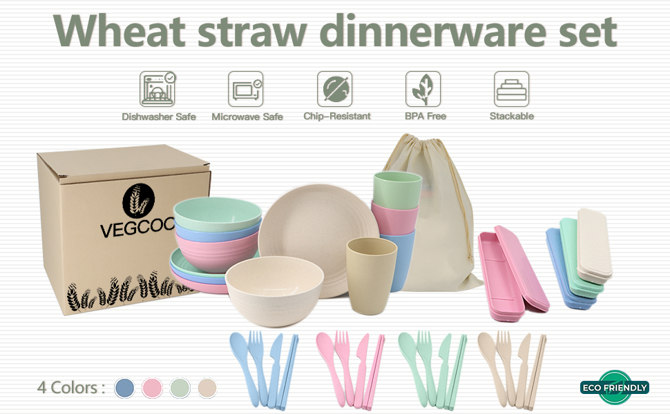 wheat straw dinnerware package contents
