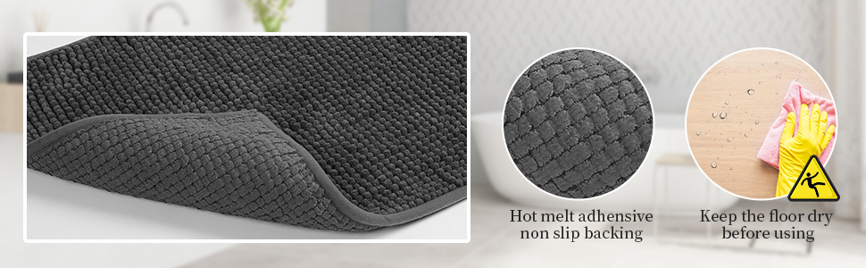 SHIMAKYO chenille bathroom rug with hot melt adhensive non slip backing